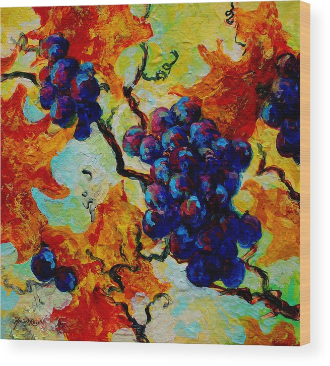 Grapes Wood Print featuring the painting Grapes Mini by Marion Rose