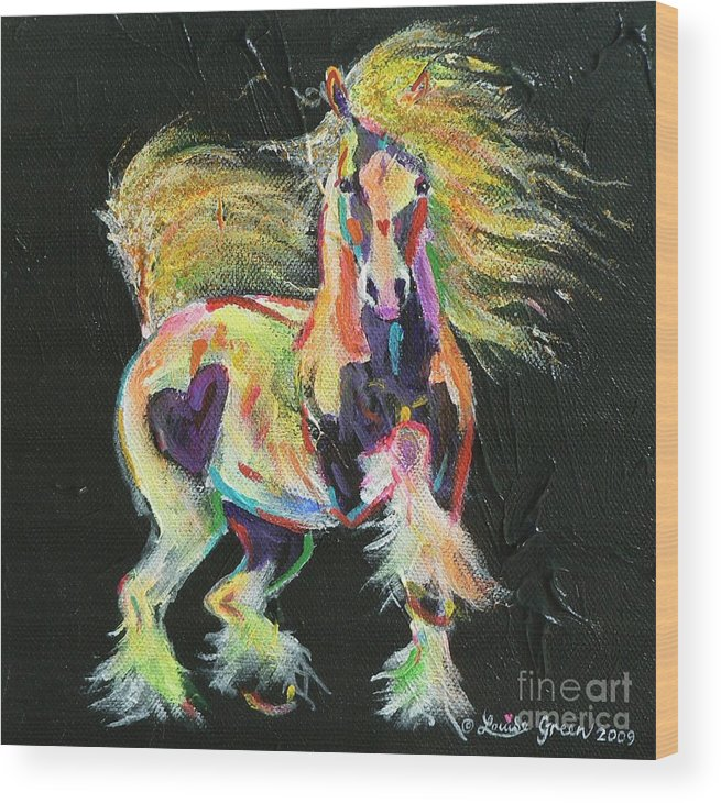 Gypsy Horse Pony Pinto Coloured Equine Cob Vanner Love Heart Rainbow Fluoro Wood Print featuring the painting Gypsy Gold Pony by Louise Green