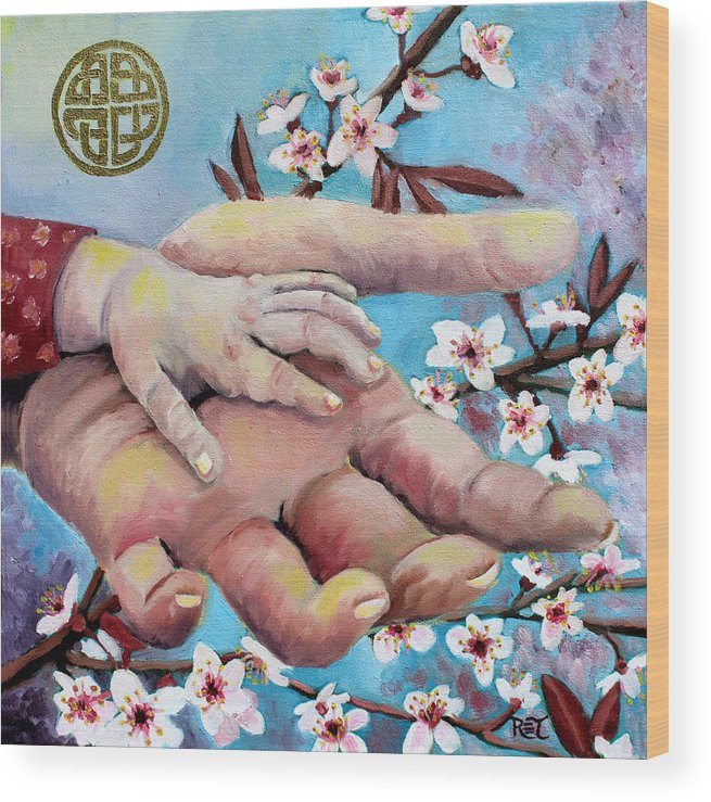 Hands Wood Print featuring the painting Hands Of Love by Renee Thompson