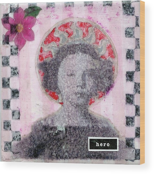 Pink Wood Print featuring the mixed media Hero by Desiree Paquette