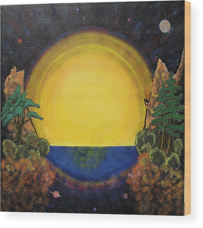 Sunset Mountain Cosmic Space Ocean Golden Wood Print featuring the painting High Mountain Sunset by Eric Singleton