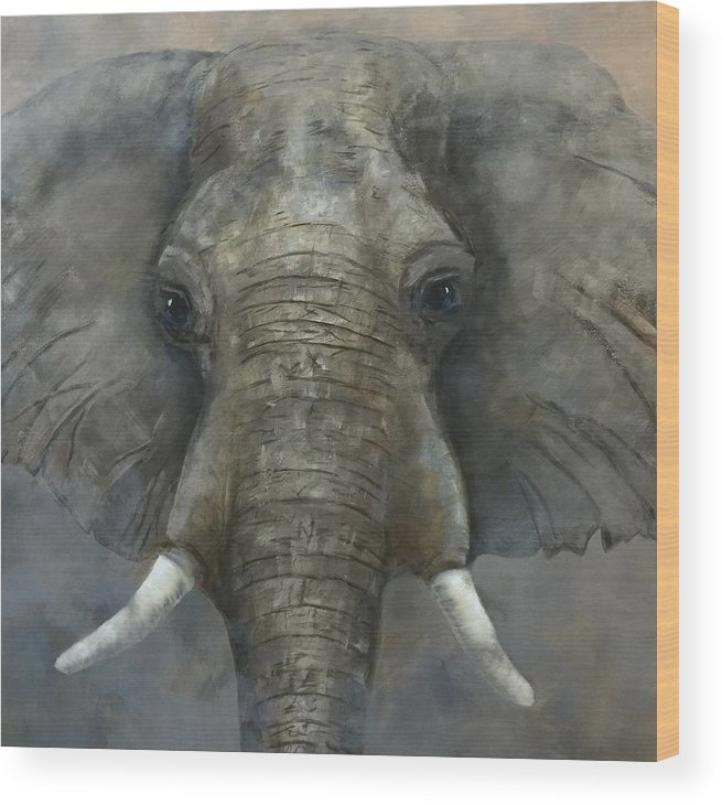 Elephant Wood Print featuring the painting In Your Face by Peggy Hague