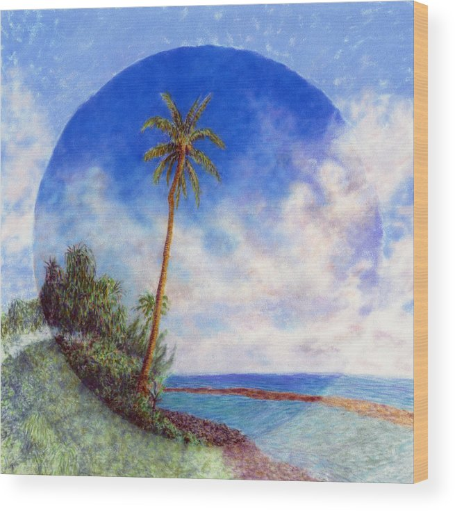 Rainbow Colors Pastel Wood Print featuring the painting Ke'e Palm by Kenneth Grzesik