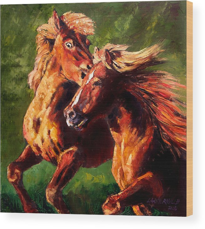 Horses Running Wood Print featuring the painting Kiss On The Run by John Lautermilch