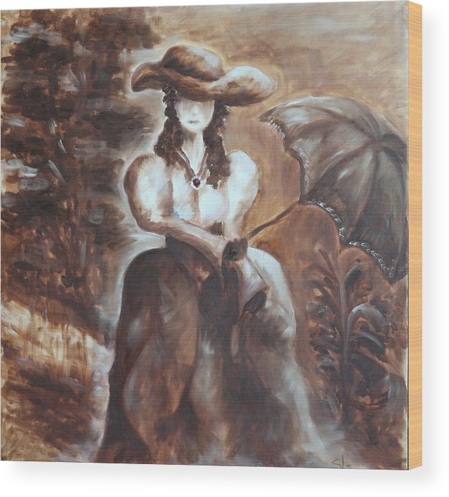 Lady Wood Print featuring the painting Lady by Sladjana Lazarevic