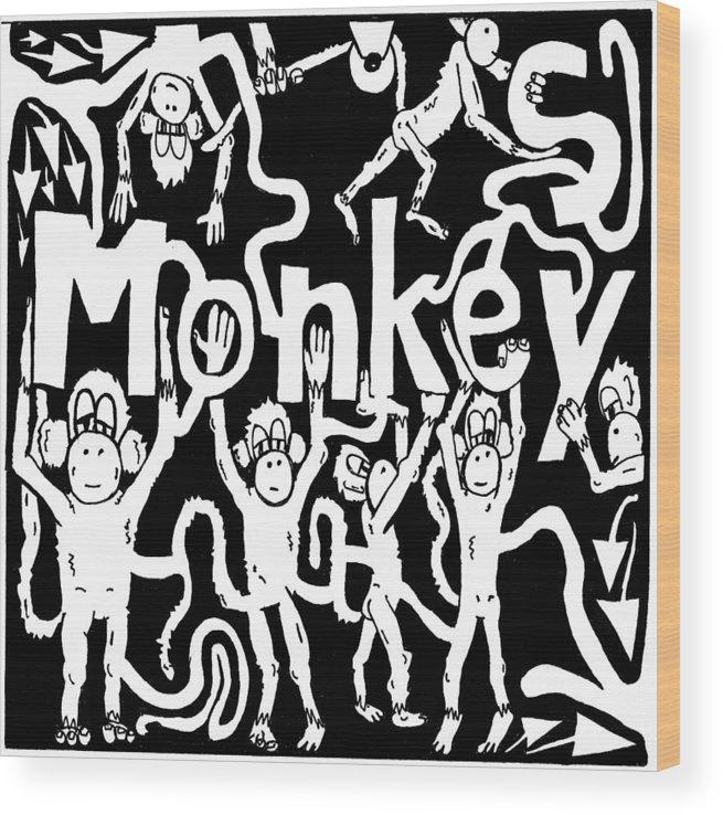 Monkey Wood Print featuring the drawing Monkeys Maze For M by Yonatan Frimer Maze Artist
