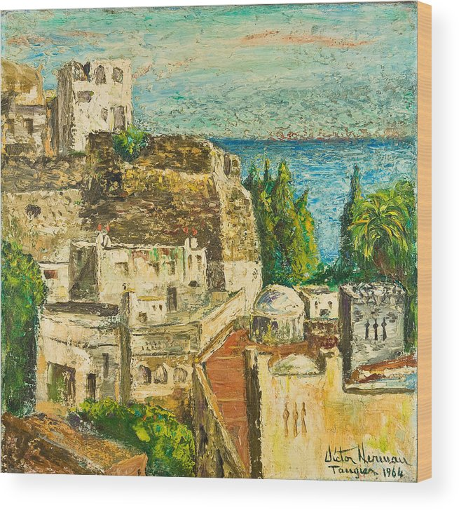 City Wood Print featuring the painting Morocco Palette Knife In Oil By Victor Herman by Joni Herman