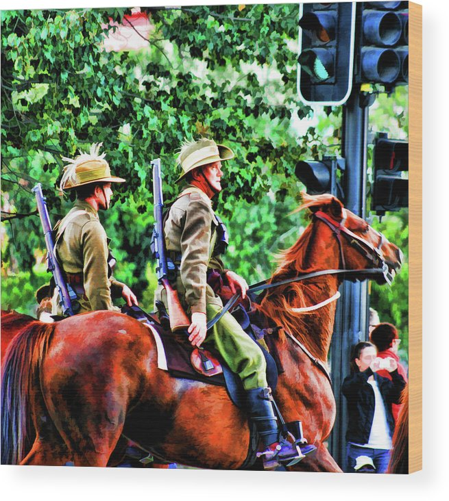 Horses Wood Print featuring the photograph Mounted Infantry by Douglas Barnard