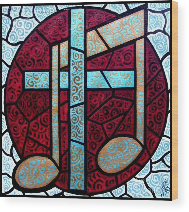 Cross Wood Print featuring the painting Music Of The Cross by Jim Harris