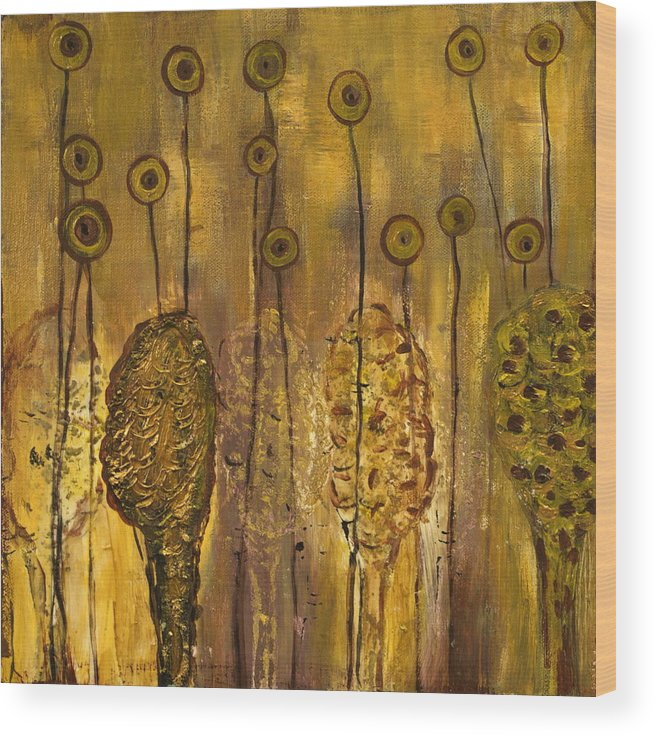 Organic Wood Print featuring the painting Myxomycetes by Angela Dickerson