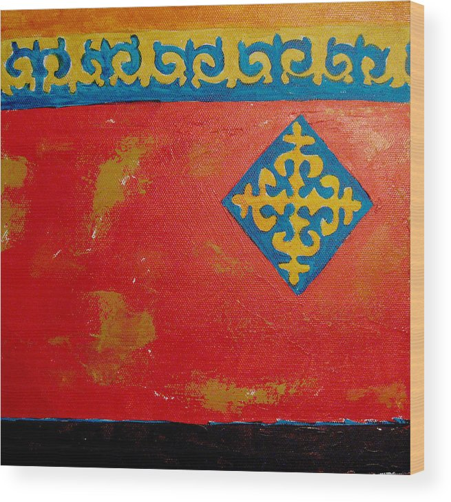 Abstract Wood Print featuring the painting Nauryz Celebration Of Spring by Aliza Souleyeva-Alexander