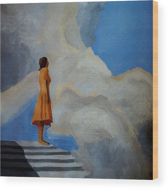 Air Wood Print featuring the painting On The Highest Step by Mats Eriksson