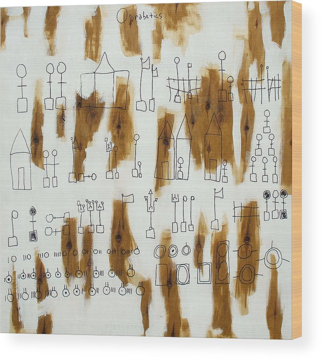 Ourabetics Wood Print featuring the painting Ourabetic Alphabet by Lamar Barber