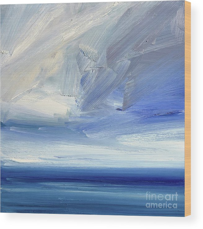 Abstract Wood Print featuring the painting Over The Shore by Timothy Gent