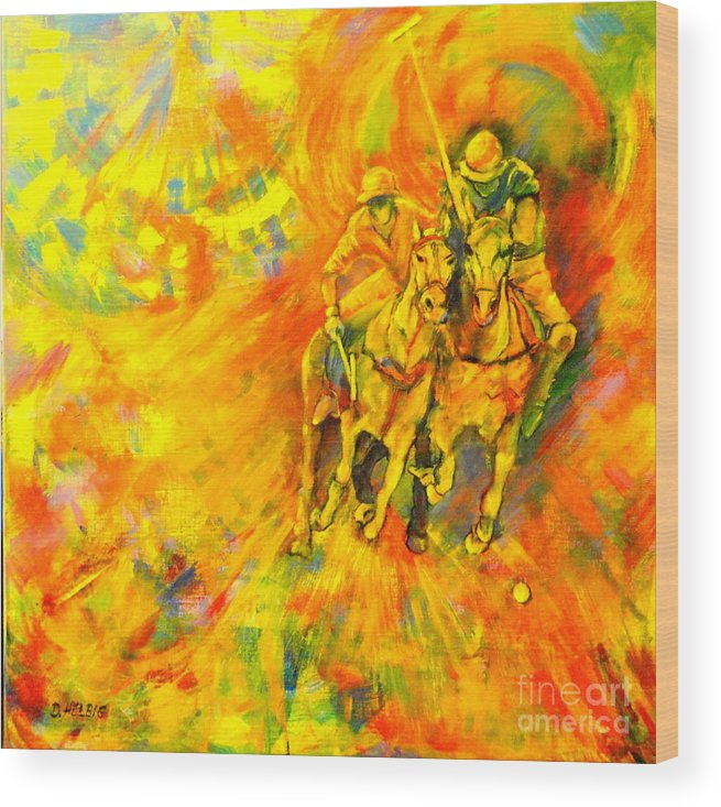 Horses Wood Print featuring the painting Poloplayer by Dagmar Helbig