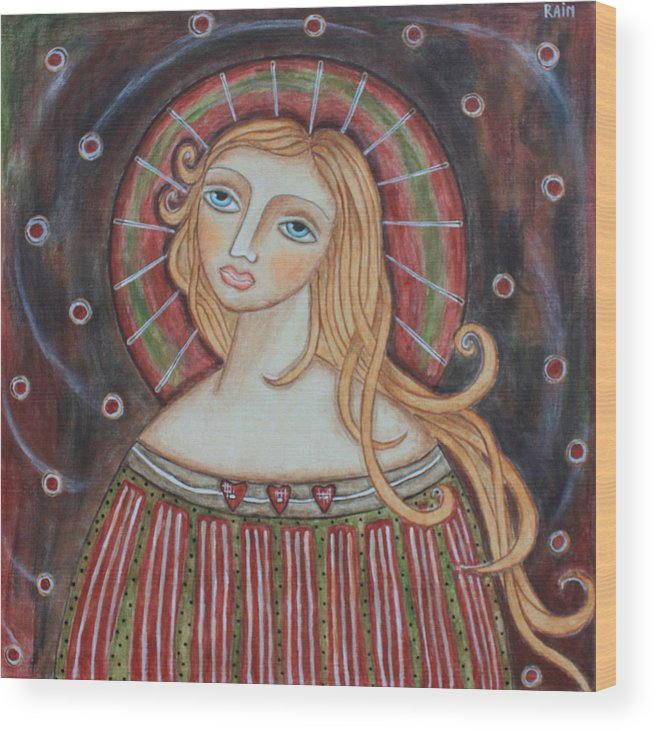 Folk Art Paintings Wood Print featuring the painting Rainbow Angel by Rain Ririn