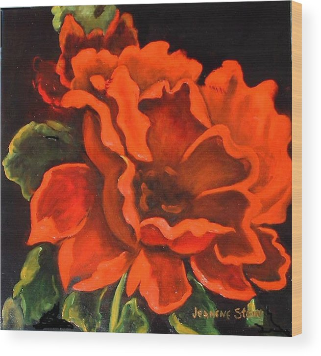 Red Flower Wood Print featuring the painting Red Flower by Jeanene Stein