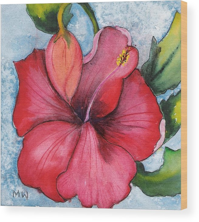 Red Flower Hibiscus Watercolor Painting Floral Wood Print featuring the painting Red Flower by Marsha Woods