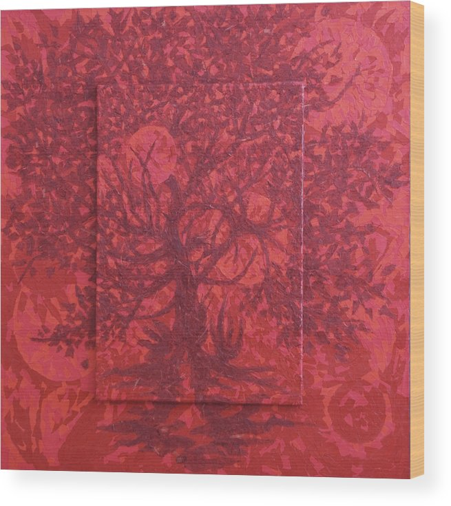 Red Wood Print featuring the painting Red Planet by Judy Henninger