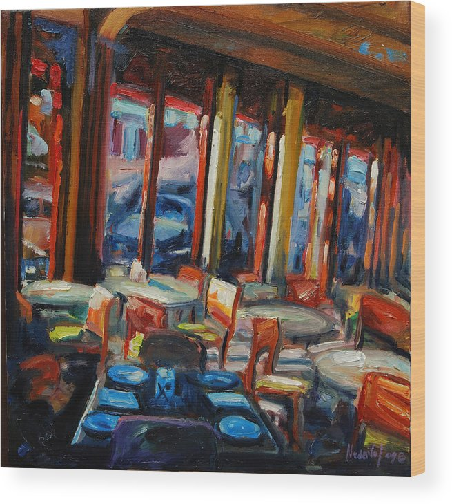 Cityscape Wood Print featuring the painting Restaurant On Columbus by Rick Nederlof