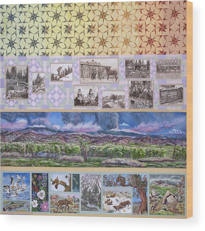 Western Wood Print featuring the painting River Mural Summer Panel Top Half by Dawn Senior-Trask