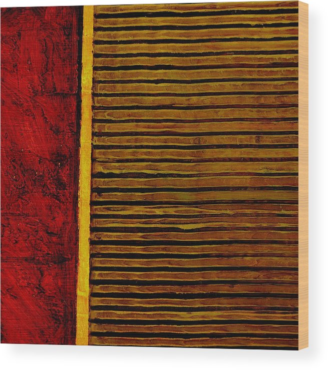 Rustic Wood Print featuring the painting Rustic Abstract One by Michelle Calkins