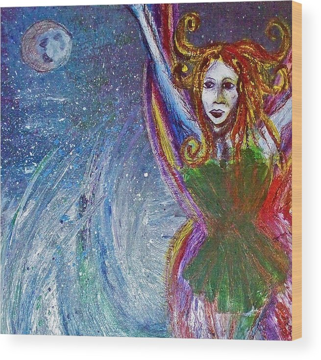 Fairy Wood Print featuring the painting Sea Sprite by Jennifer Addington