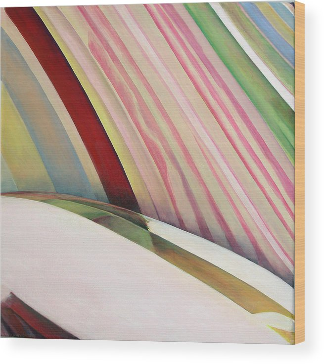 Abstract Wood Print featuring the painting Sens 1 by Muriel Dolemieux