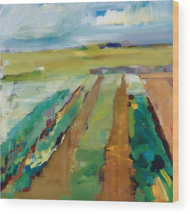 Impressionistic Landscape Wood Print featuring the painting Simple Fields by Michele Norris