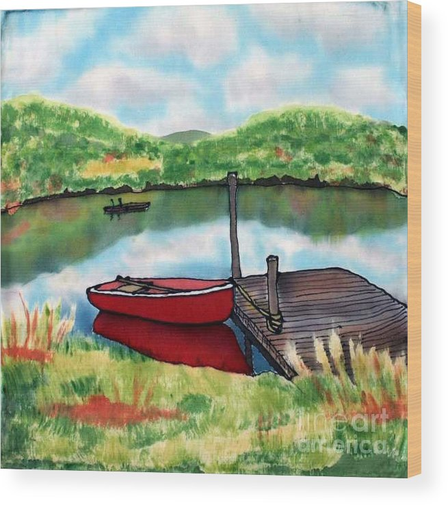 Summer Wood Print featuring the painting Sumer Reflections by Linda Marcille