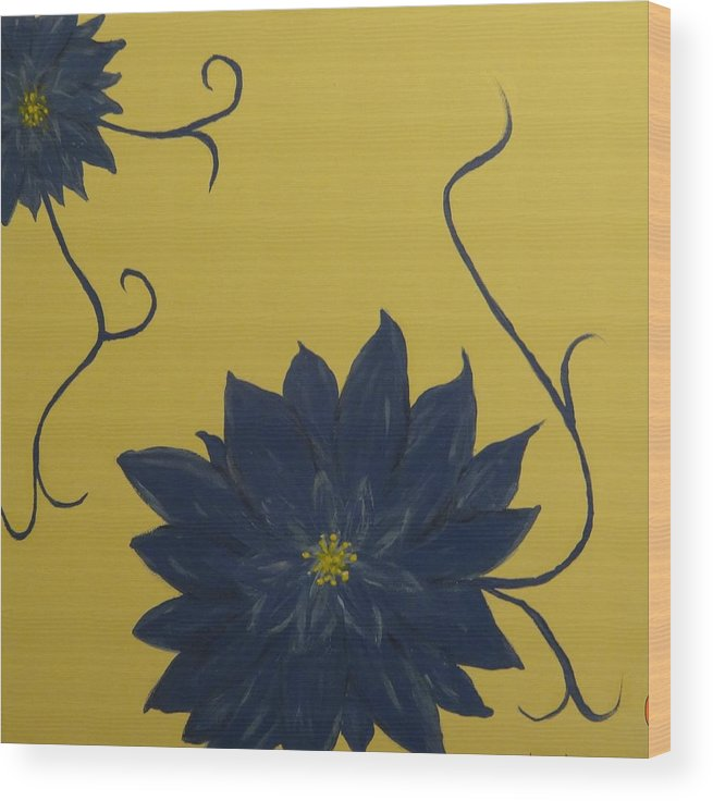 Flowers Wood Print featuring the painting Summer Blooms by Laura Johnson