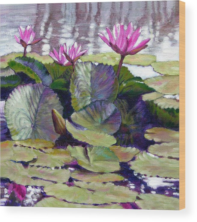 Water Lilies Wood Print featuring the painting Summer Breeze by John Lautermilch