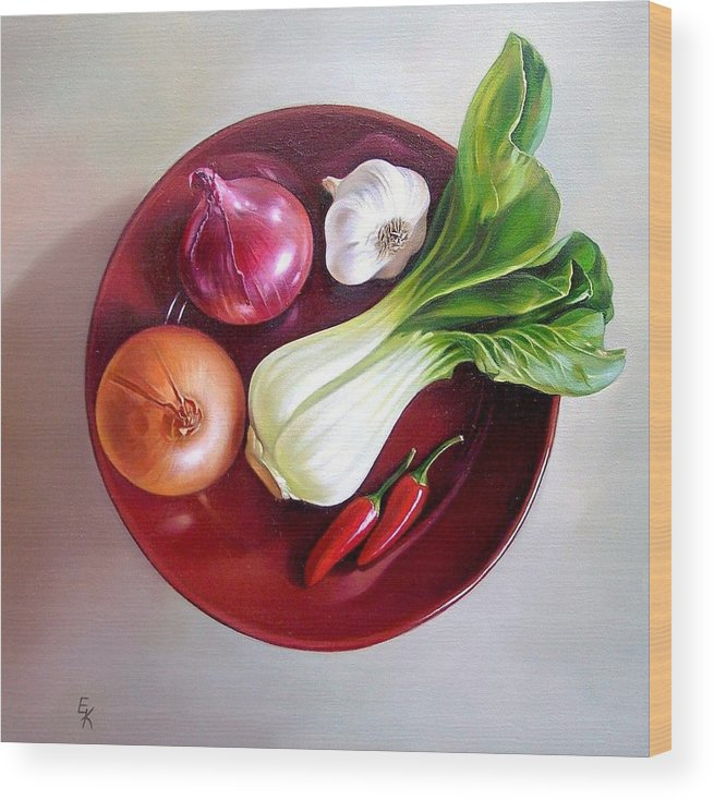 Still Life Wood Print featuring the painting Summer Plate 2 by Elena Kolotusha