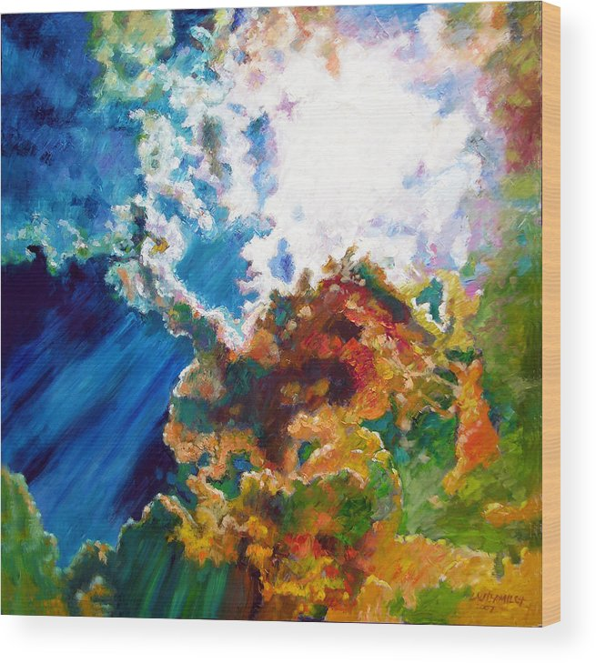 Sunburst Wood Print featuring the painting Sunburst by John Lautermilch