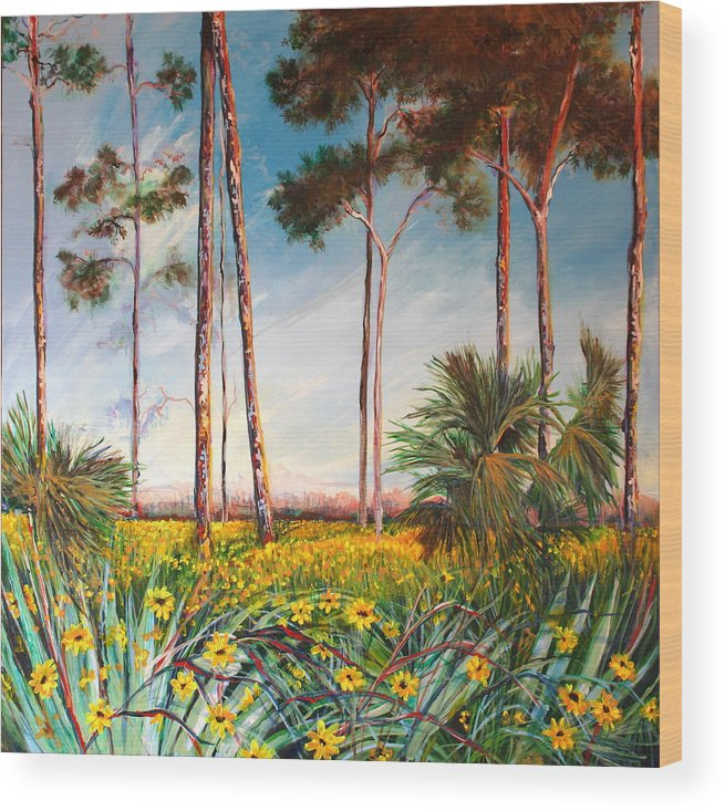 Florida Landscape Sunflowers Wood Print featuring the painting Sunflower Revival by Michele Hollister - for Nancy Asbell