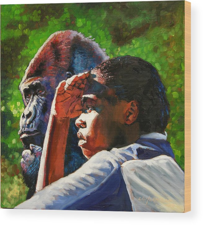 Gorilla Wood Print featuring the painting Sunset On The Myth by John Lautermilch