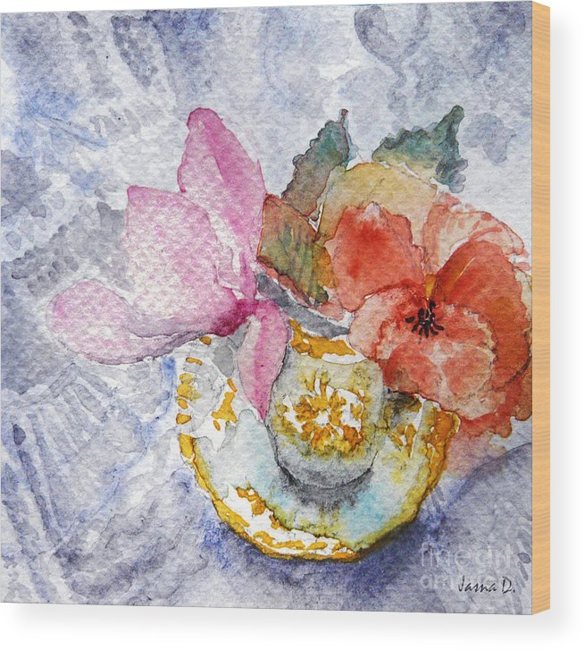 Still Life Wood Print featuring the painting Tenderness by Jasna Dragun