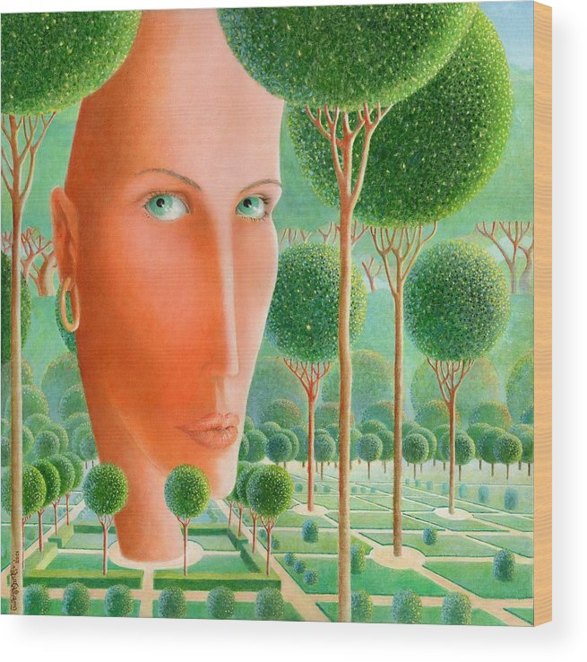 Giuseppe Mariotti Wood Print featuring the painting The Garden by Giuseppe Mariotti