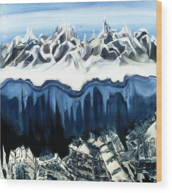 The Peaks  Wood Print featuring the painting The Peaks by Ione Citrin