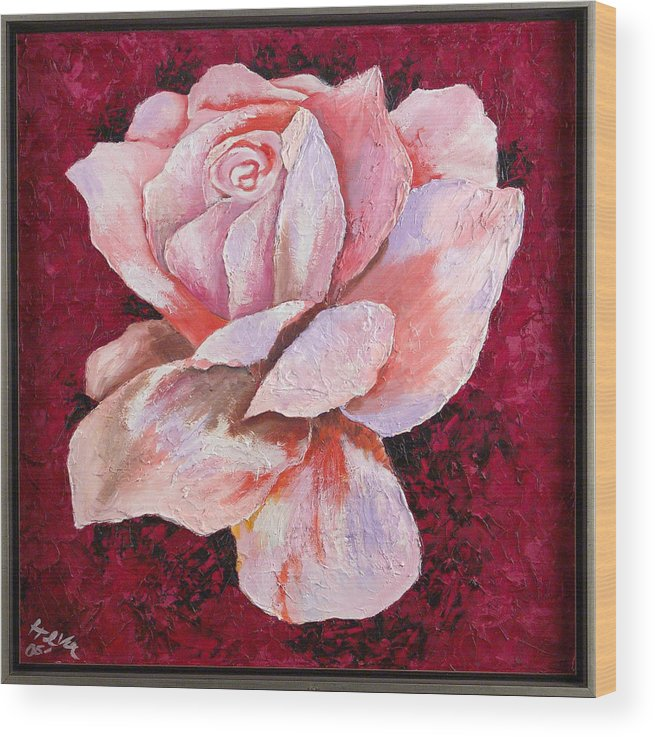 Flowers Wood Print featuring the painting Third Passion by Helene Lagoudakis