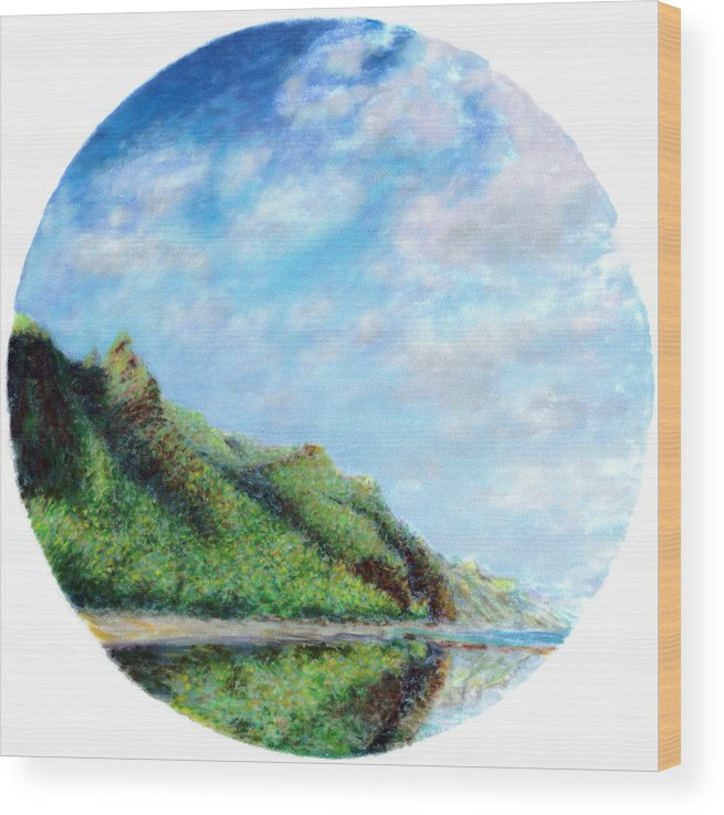 Coastal Decor Wood Print featuring the painting Tondo by Kenneth Grzesik