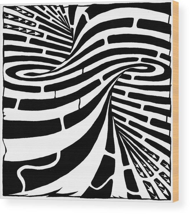 Maze Wood Print featuring the drawing Tornado Maze by Yonatan Frimer Maze Artist