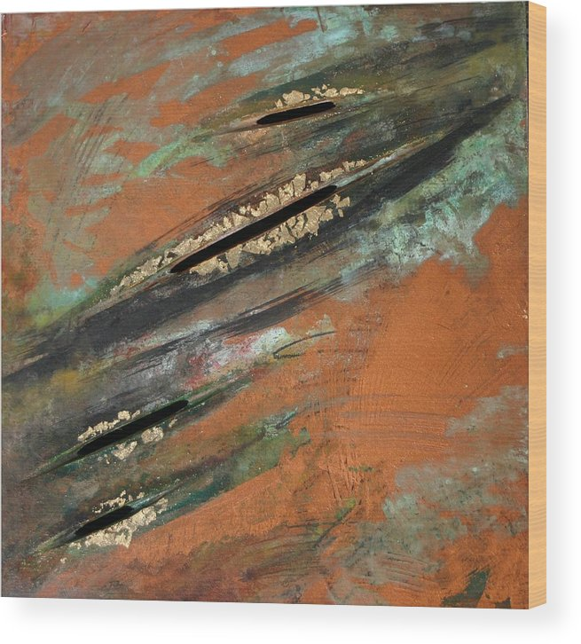 Copper Wood Print featuring the painting Transitory Marks Iv by Dodd Holsapple