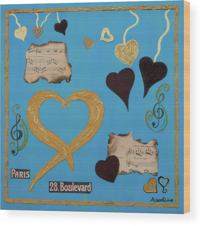 Hearts Wood Print featuring the mixed media Turquoise Boutique Hearts by Alison Quine