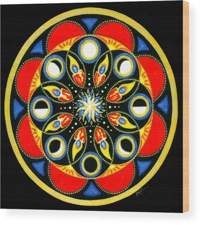 Meditative Mandala Wood Print featuring the painting Universal Light Mandala by Pam Ellis