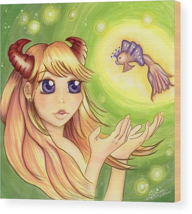 Anime Wood Print featuring the mixed media Valencia by Stephanie Elaine Smith