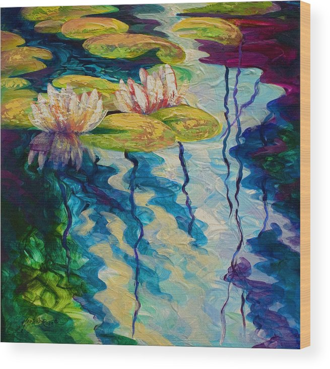 Water Lily Wood Print featuring the painting Water Lilies I by Marion Rose