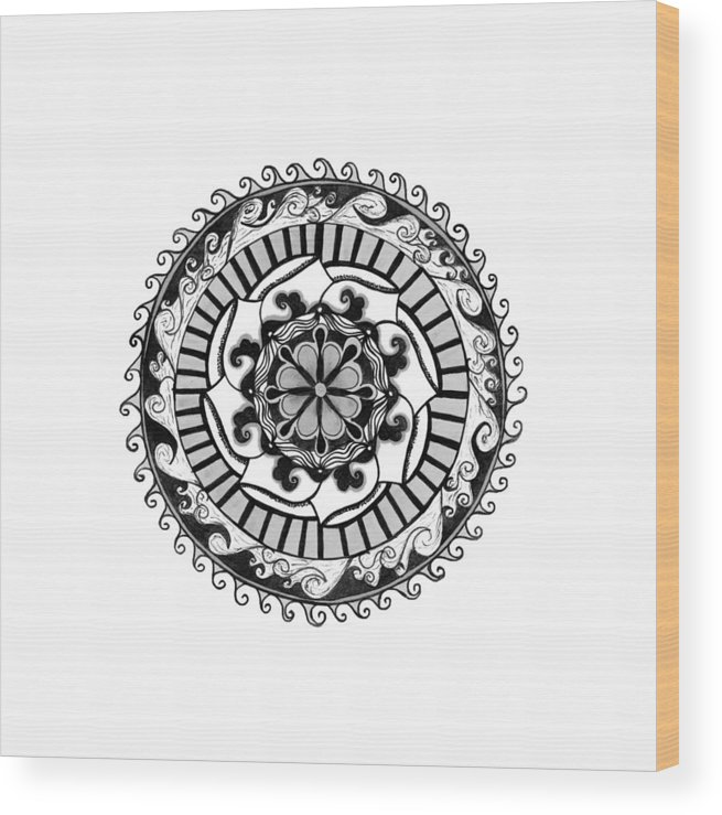 Mandala Wood Print featuring the drawing Waves by Alyssa Baird