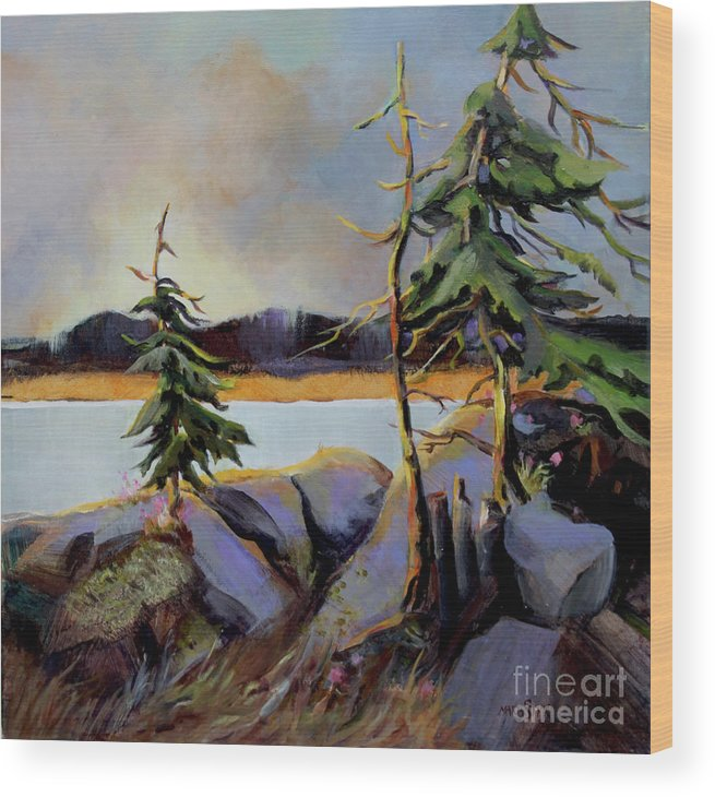 Landscape Wood Print featuring the painting West Coast Sky by Marta Styk