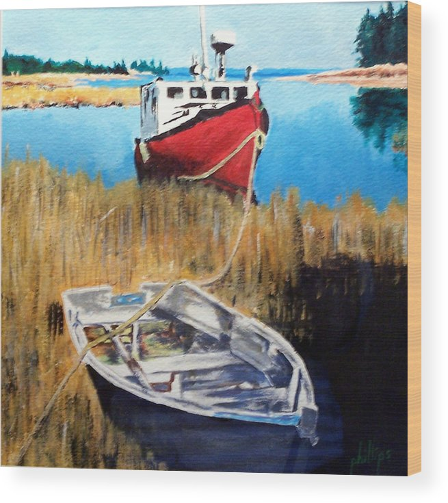 Ship Wood Print featuring the painting Wetland Taxi by Jim Phillips